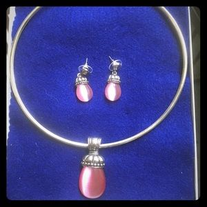 Sasha Rose Quartz necklace and earrings